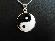 "Sterling Silver (925) Ying Yang Pendant ( 24 MM ) With 925 Silver 18"" Chain  !!"