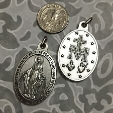 """1 3/4"""" Miraculous Medal Our Lady of Grace Mary Catholic Oxidized Silver Pendant"""