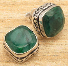 Facetted Green Simulated EMERALD Stud Earrings 925 Silver Plated TRENDY Jewelry