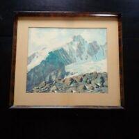 Grande aquarelle montagne alpinisme signé Suisse Allemagne tableau XIXème XXème