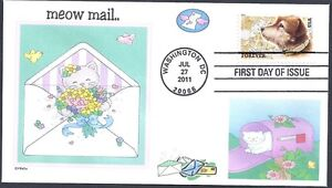 MEOW MAIL  CATS  BIRDS  BUTTERFLY  FLOWERS  OWNEY POSTAL DOG  FDC- DWc CACHET #1