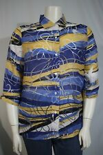 Allison Daley Misses 16 Blue Yellow Burnout 3/4 Sleeve Button Front Shirt Jacket