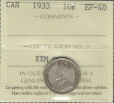 1933 Ten Cents ICCS Graded EF-40 Beautiful SCARCE Date HIGH Grade George V Dime