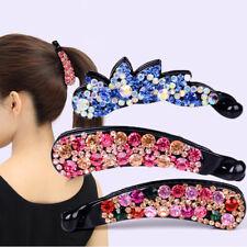 Fashion Women's Crystal Banana Hairpin Hair Clips Barrette Headpiece Accessories