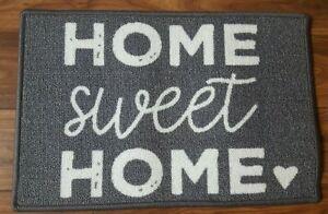 BN GREY WHITE HOME SWEET HOME LOVE HEART MACHINE WASHABLE DOORMAT DOOR MAT 40x60
