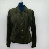 Cole Haan Jacket Womens Small Vintage Green Suede Leather Made in USA