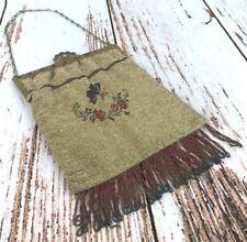 Antique Micro Beaded Purse Handbag Butterfly Flower Scene Metal Jeweled Frame