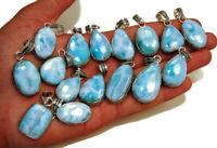 New Lot PCs Natural BLUE LARIMAR Gemstone 925 Sterling Solid Silver Pendants