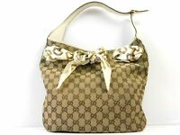Gucci handbag GG Monogram Scarf Tote Hand bag Purse Ivory Shoulder Auth