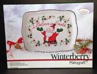 Winterberry Pfaltzgraff Christmas Cookie Plate I Believe In Santa Holly NEW