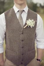 Customize Brown Tweed Vest Wool Herringbone British Style Wedding Men Waistcoat