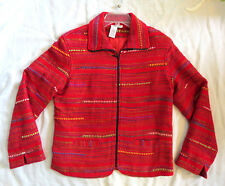 Coldwater Creek WOVEN RED Southwestern Blanket Style Weave Red Jacket Sz S NWOT