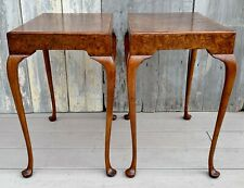 Pair of Vintage Baker Furniture Queen Anne Burl Walnut Side Tea Tables 1980s