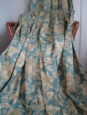 "Vintage Blue Gold Floral Paisley Curtains Rectella UK Fabric Belgravia 98"" x 84"""