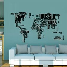 Home Living Room PVC Wall Sticker Removable World Map Letter Printed Stickers LN