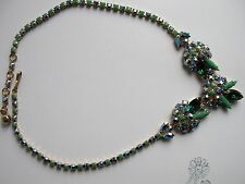 Sherman Jewels of Elegance -Rare Emerald & Sapphire Signed  Necklace & Bracelet