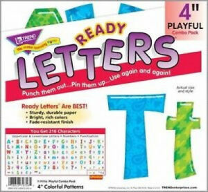 216 Classroom Display Board Ready Letters Colourful Patterns Combo 10cm Inch