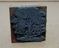 Vintage Printing Letterpress Printers Block Small Tree 5 Inches