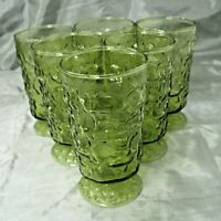 "Anchor Hocking MILANO Avocado Green 6-5 1/2"" Footed Tumbler Glass Bark Textured"