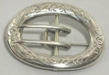 Vintage Sterling Silver Belt Buckle Brooch Sash Pin