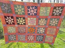 Stunning Colorful Unique Antique 8 Point Star Hand Quilted Quilt 85 x 72