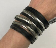 FREE PEOPLE CANYON ROSE LEATHER WIDE BRACELET BLACK LEATHER SILVER NEW MAGNETIC