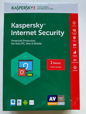 KASPERSKY INTERNET SECURITY 1 YEAR 1 DEVICE PC MAC New in Box, NEW, RETAIL