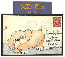 MS2870 GB HAND-ILLUSTRATED Charming PUPPY Bexhill-on-Sea Sussex 1934 Cover DOGS