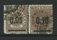 """Italy 2 """"Cambiali"""" 1868 Revenues, thick ovpt, see notes - S5736"""