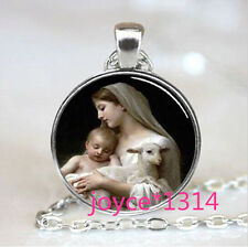 Virgin Mary Jesus and Lamb Cabochon Glass Chain silver Pendant Necklace #741