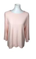 J.Jill Women's Size M Linen Blend Pink Ballet Neck Tunic Top Slit Sides Sleeves