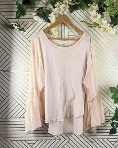 Free People Pink Blouse Mesh flare Long Sleeve Size Small