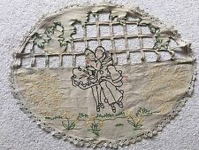 vintage retro Art Deco French tapestry embroidery table centre piece Pierrott