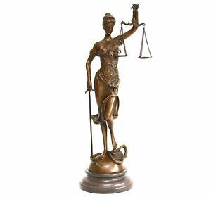 41cm große Justitia Skulptur Bronze auf Marmor Sockel Figur der Gerechtigkeit