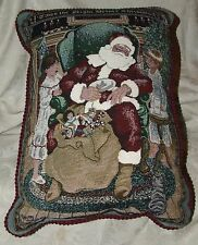 1990s Sleeping Santa in Easy Chair Tapestry Christmas Xmas Throw Pillow Kids CAT