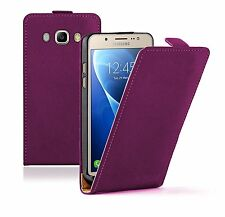 SLIM PURPLE Leather Flip Case Cover Pouch For Samsung Galaxy J5 2016 (+2 FILMS)