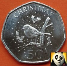2009 GIBRALTAR Christmas 50p Fifty Pence Robin on a Twig Uncirculated Coin