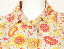 60'S FRENCH VINTAGE PARTY PRINT SHIRT UK 12/14