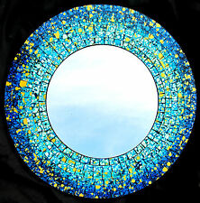 "Mirror ""Blue Splash"" mosaic glass hand crafted home decor 16"""