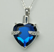 Sapphire Blue CZ Heart Urn Necklace || September's Birthstone || Engraveable