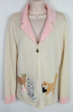 Crazy Cat lady Cardigan sweater full zip front Beige Storybook Knits Womens S