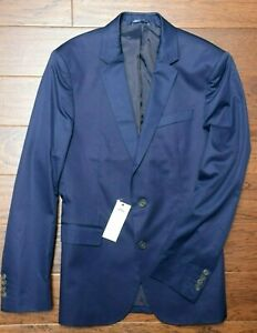 Lacoste VH7284 $395 Men Regular Fit Navy Blue Cotton Blazer Sport Coat 2XL EU 56