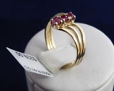 9CT SOLID YELLOW GOLD 3x3.0mm NATURAL RUBY RING 2.0gr.