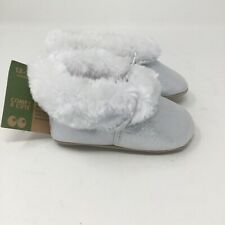 Surprize by Stride Rite Baby Girls Soft Sole Moccasins Silver 12-18M NWT Fur