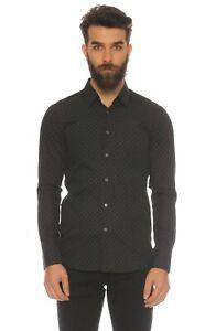 JIL SANDER black slim-fit polka dots shirt - Size 39 / 15.5