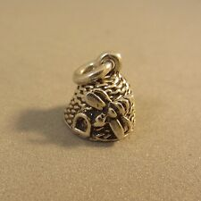 .925 Sterling Silver 3-D BEEHIVE W/ BEE CHARM Pendant NEW Insect Hive  925 GA43