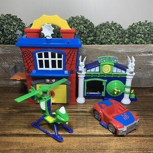 Playskool Hasbro Spiderman Headquarters The Lizard BANK HEIST Car Helicopter