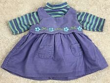 American Girl Bitty Baby Twin Girl Play Outfit Purple Corduroy Dress & Shirt