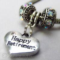 Happy Retirement European Heart Charm And Birthstones For Charm Bracelets