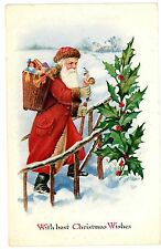 Merry Christmas-Red Suit Santa Claus-Embossed Postcard Holly/Toys/Teddy Bear